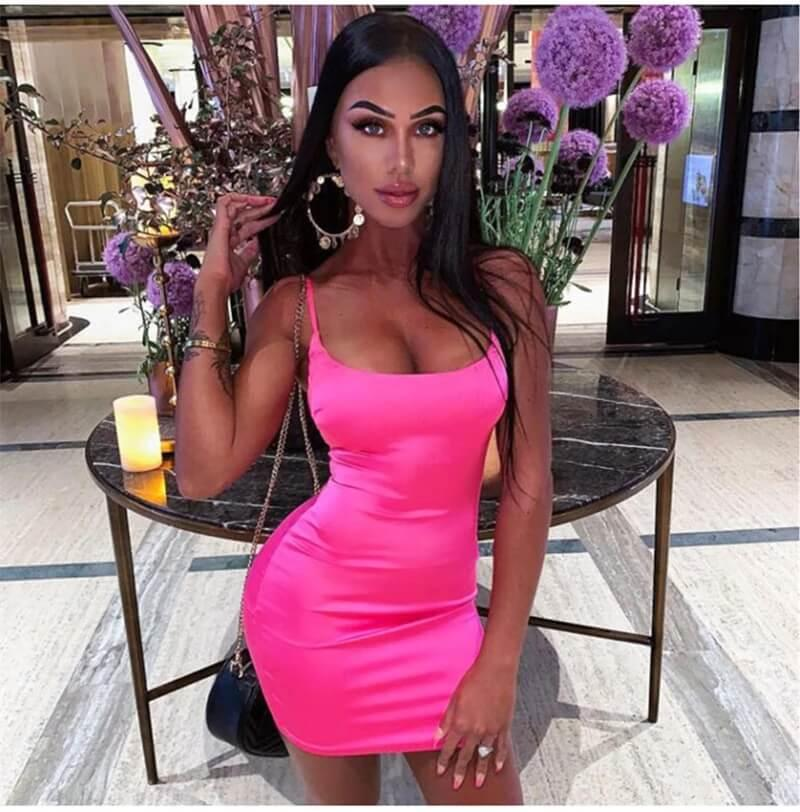 Stretch mini raso sexy cinghie slim fit bodycon party da donna abiti al neon rosa estate dreses dual-strati tubiti di dimensioni vestiti LYQ418