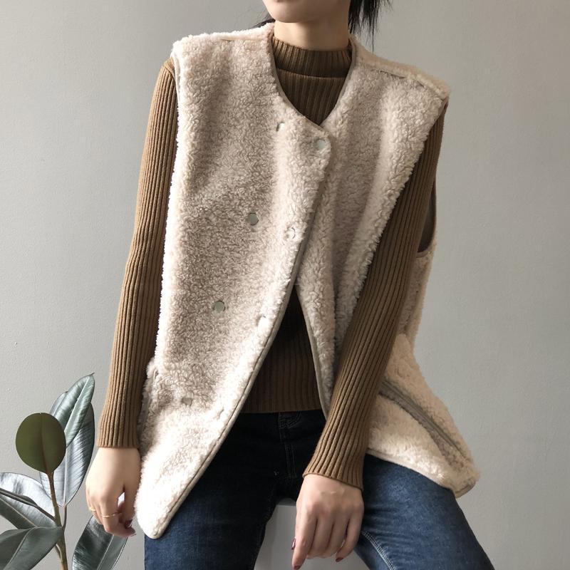 2021 зимние женские сплошные цвета свободные ягненки шерстяные жилет хлопчатобумажные ветрозащитные теплые талии карманы простое пальто