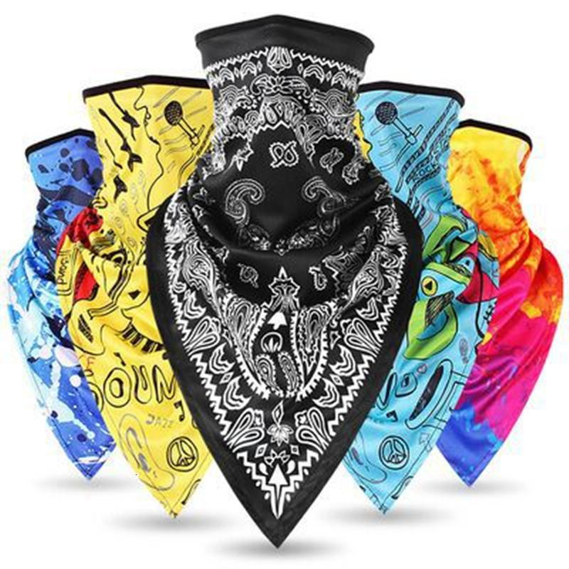 Triangolo Bandana Mezza Viso Scarv Appeso Maschera dauricoltura Ghiaccio Collo Silk Cover Sole Smooth Traspirable Outdoor Fascia da uomo Donne