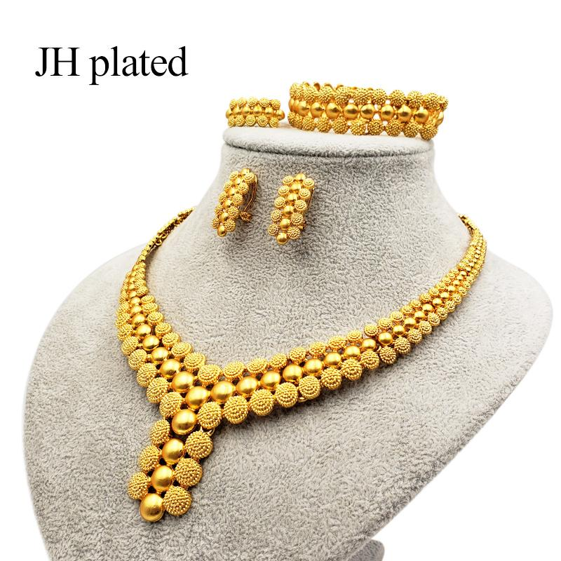 Dubai Luxury gold color Jewelry sets of women India Ethiopia African Bride wedding gifts Necklace earrings ring bracelet sets 201215