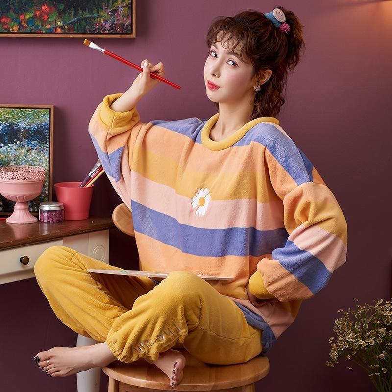 Nightwa зима толщиной теплый фланель милый пижам наборы для женщин спящая одежда длинные рукава одежда дома носить мягкие пижамы набор женщин