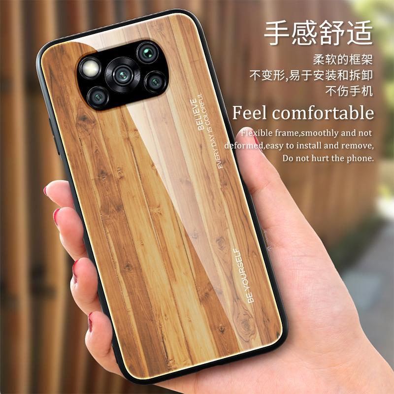 قضية الهاتف الزجاج المقسى خشبي ل Xiaomi Redmi Poco X3 NFC Note 9 9S 8 8T 7 9A 9C 10 CC9 Ultra Pro