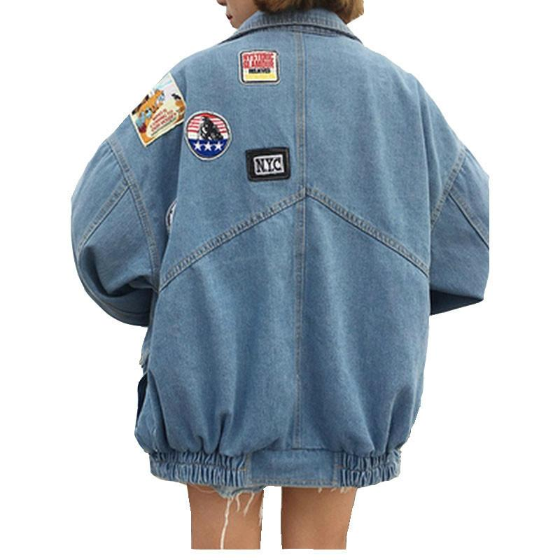 Uzun Kollu Bombacı Ceket Rahat Gevşek Casaco Feminino Vintage Jaqueta Feminina Harajuku Denim Ceketler Coat Kadınlar Yama Tasarımları 201027