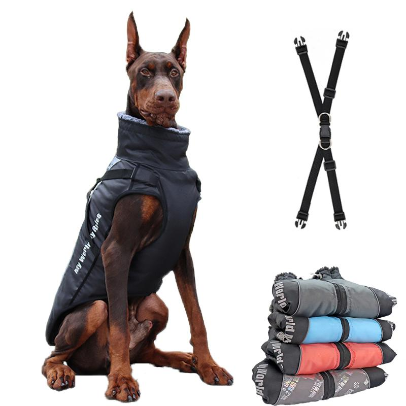 Large Jacket Fur Collar Winter Dogs Clothes For Pet Waterproof Big Dog Coat With Removable Harness French Bulldog Pug Outfit Y1124