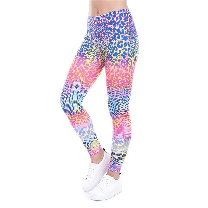 Leggings Hot Leggings Colorido Leopardo Impresso Legging Moda Moda Mulheres Sexy Calças Alto Cintura Mulheres Calças Y200904