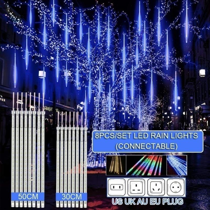 30 cm / 50 cm Meteora impermeabile Doccia Pioggia 8 Tube Led String Lights per vacanze all'aperto Decorazione natalizia EU / US / AU / UK Plug 201030