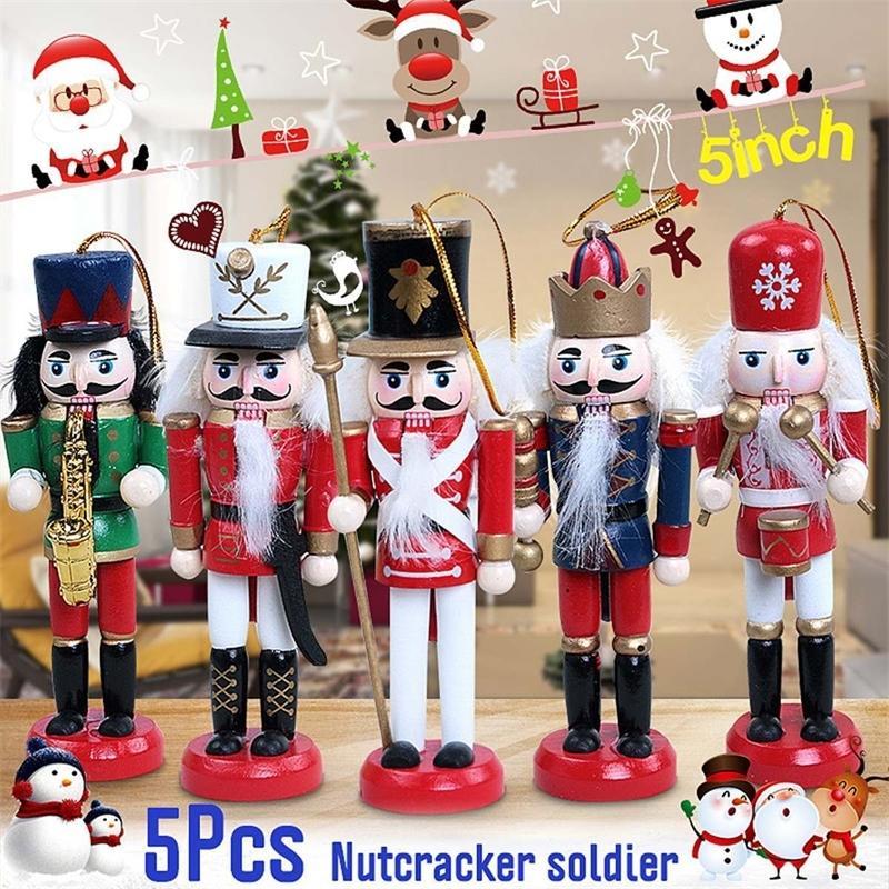 Decoración de Año Nuevo Doll Muñeca 5 unids Cascanueces de madera Soldado Feliz Navidad Decoración Colgantes Adornos para Árbol de Navidad 201125