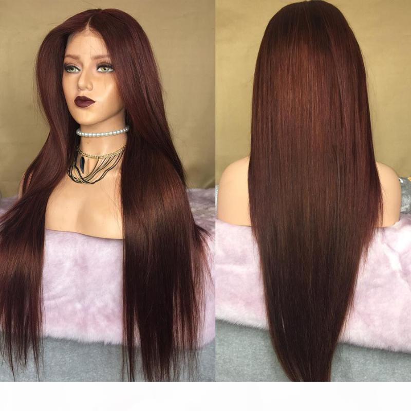 Malaysia Chestnut Brown Silky Straight Silk Top Full Lace Wigs with Baby Hair 150Density 26Inch 13x6 Transparent Lace Front Wigs