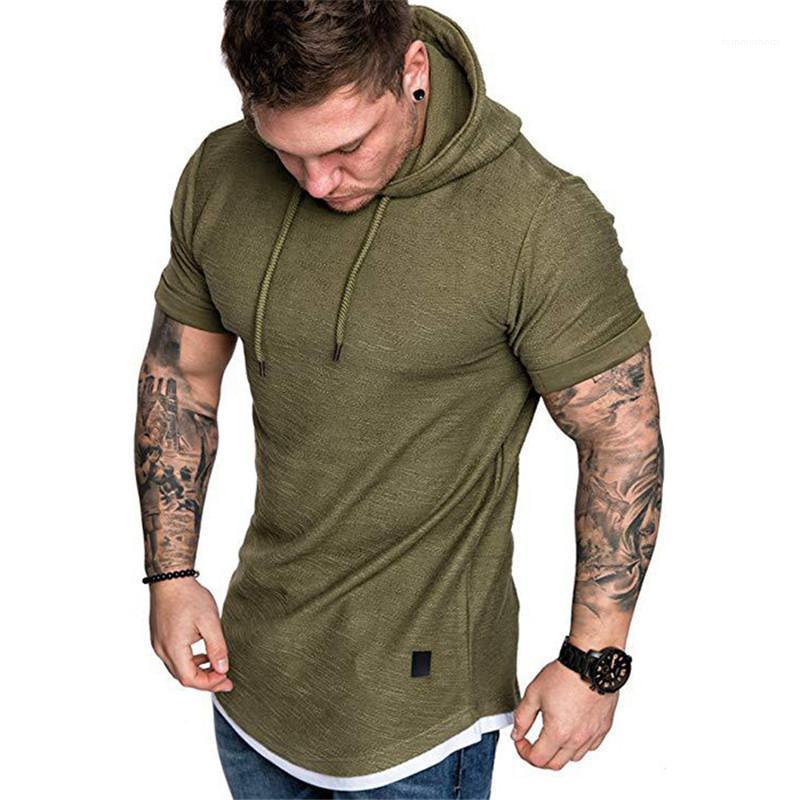 Цвет с коротким рукавом TEE повседневная тонкий 2021 новая мужская одежда мода мужские футболки с капюшоном вскользь