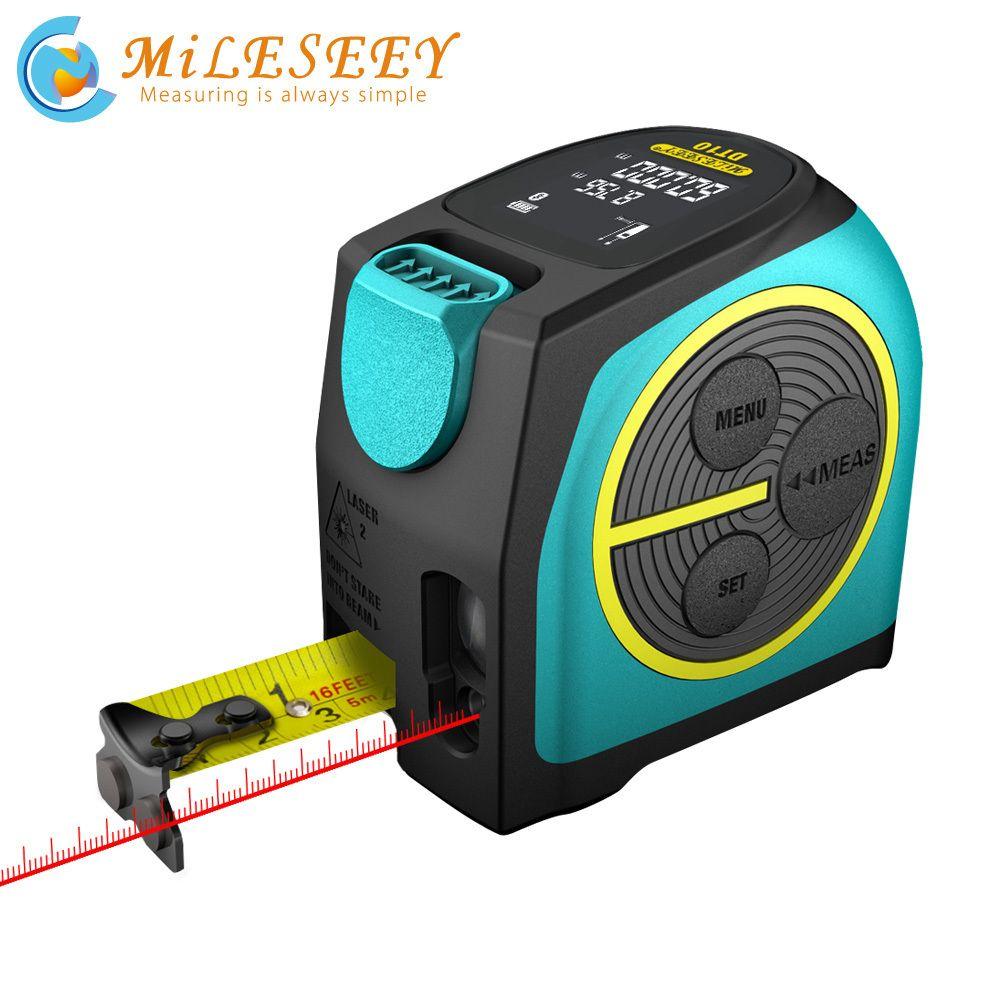 MilesEy Digital Láser Láser y cinta láser Medida 2 en 1 con pantalla LCD Tape láser digital M T200603