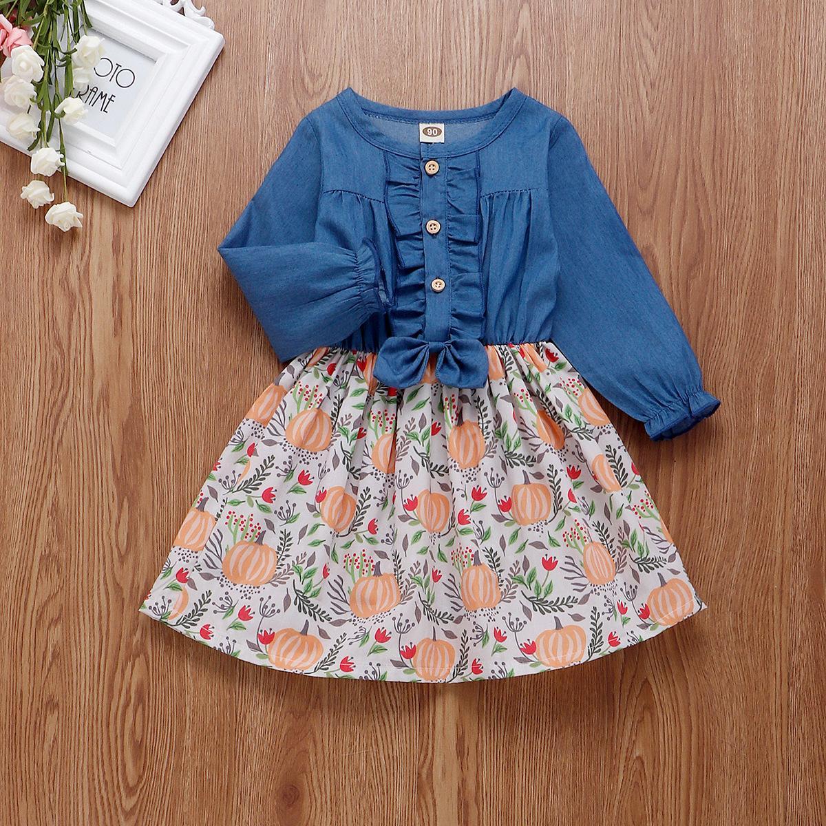 Baby Girls Halloween Outfits с длинным рукавом тыква платье бутик детские джинсовые платья сращивание хлопчатобумажного малыша девушка Хэллоуин платье W1227