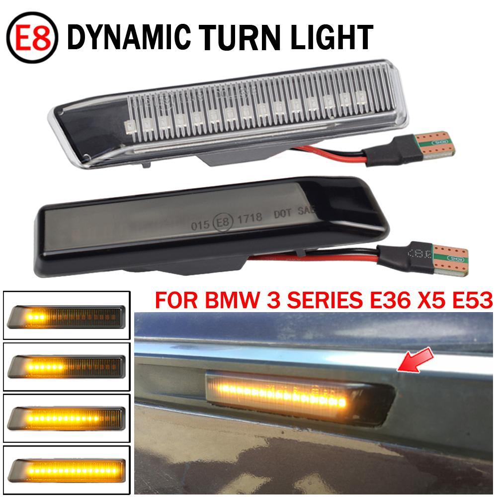 BMW E36 M3 Facelift 1997-1999 x5 E53 1999-2006에 대 한 LED 다이나믹 턴 신호 빛 측면 마커 펜더 순차 램프 램프