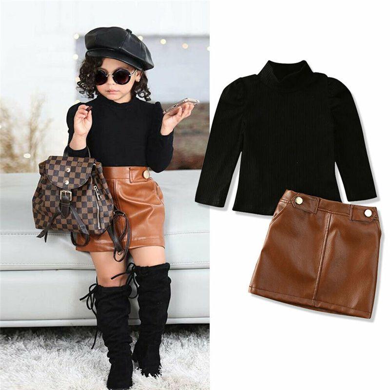 Yeni Bahar Yeni Varış Kızlar Moda Giysileri Set 2 Parça Suit Kazak Tops + PU Deri Etek Çocuk Setleri Kızlar Giysileri 0-5 Yıl J1204