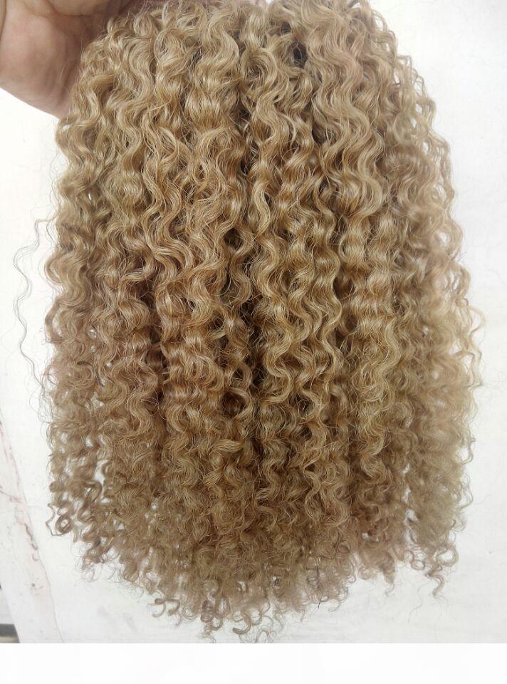 Brezilyalı İnsan Bakire Remy Klip Ins Saç Uzantıları Kinky Bukleler Saç Atkı Medum Kahverengi Koyu Sarışın Renk