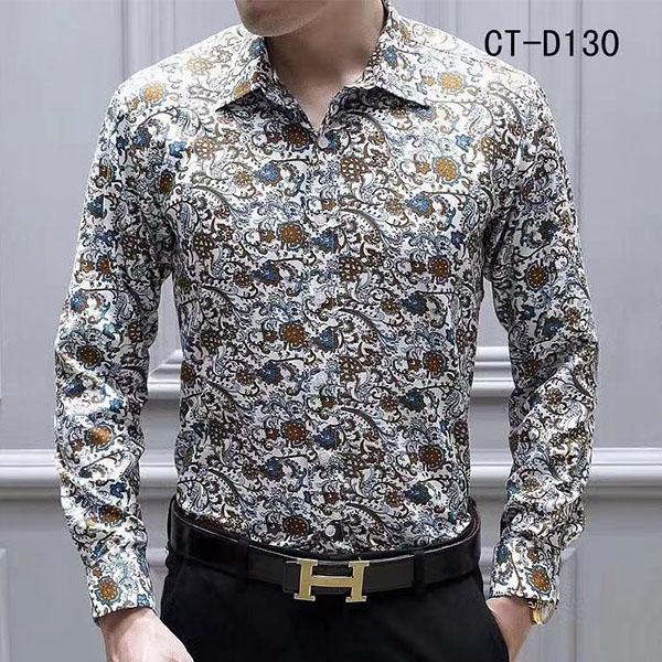 New Fashion Designer Slim fit camicie uomo nero oro stampa floreale uomo vestito camicie camicie a maniche lunghe business camicie casual camicie maschi vestiti