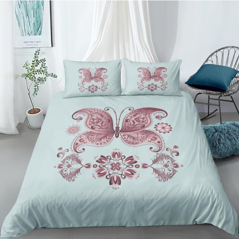 Bedding Sets 3D Bohemian Duvet Cover Set Quilt Covers Pillow Cases Full Double Single King Queen Size Design Cyan Bedclothes