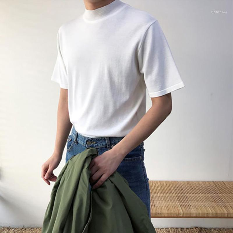 Cuello de soporte coreano camiseta moda moda color sólido algodón camiseta hombres calle streetwear salvaje suelto camiseta de manga corta MENS1