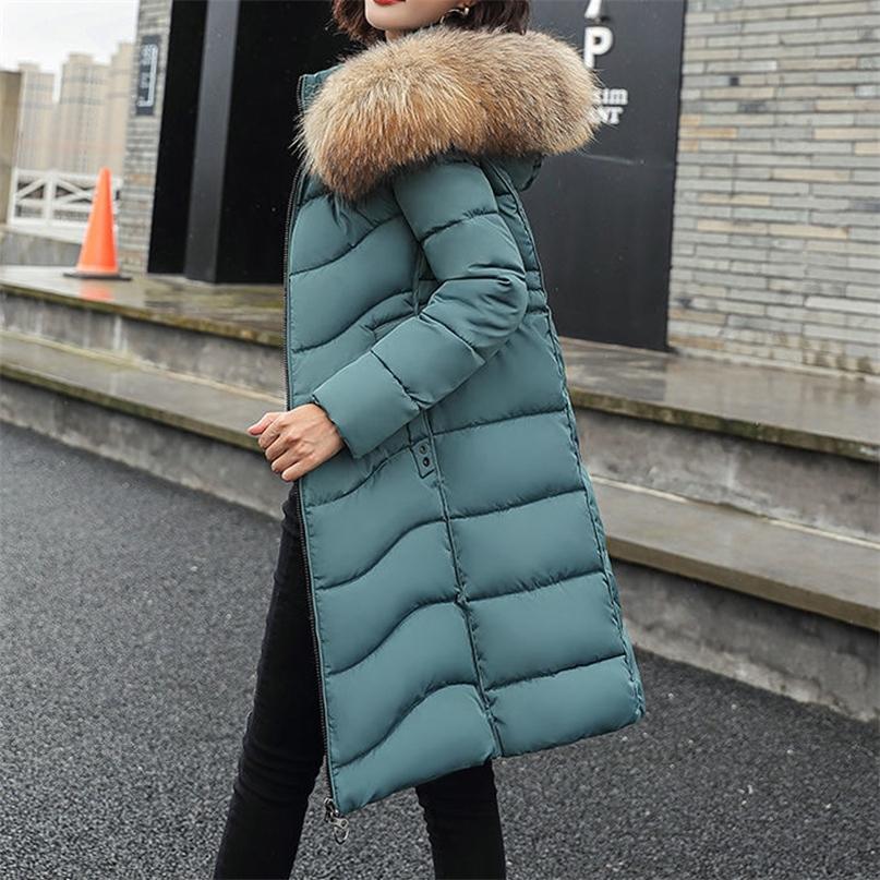 Cappotto lungo inverno Donne Plus Size Fashion Cappuccio con cappuccio Collar Collar Parka Giacca imbottita in cotone coreano di alta qualità Outwear caldo 201214