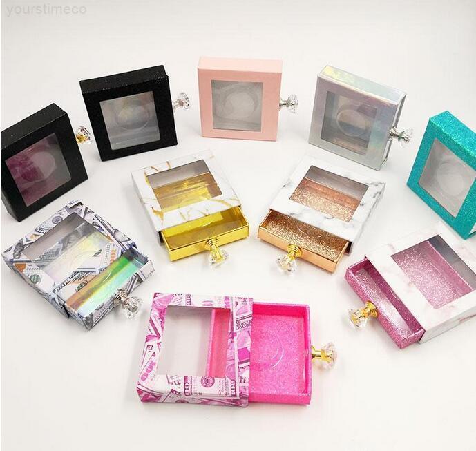 CRISTAL HANDLE PEQUEÑOS PEQUEÑOS ASSE PEWELASH Caja de embalaje Falso 3D Mink Palestes Cajas Faux Cils Strip Diamond Magnetic Case Vacío