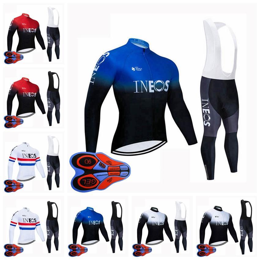 Primavera / Autum Ineos Team Bike Mens Cycling Jersey Manga Larga Pantalones de babero Conjunto Ropa de carreras Sport Uniform Outfits S122807