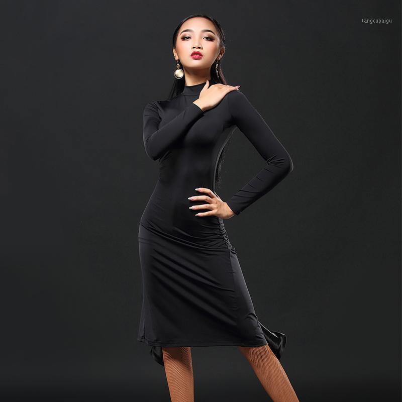 2019 New Brand 1 Color Latin Dance Skirt Women Sleeve Tango Rumba Flamengo Ballroom Dance Dress For Women Costume A31521