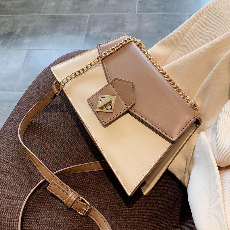 Couleur Contraste Couleur Sac carré Sac à bandoulière 2021 Mode Nouvelle Qualité En Cuir Pour Femmes Designer Sac à main Messenger à la chaîne de serrure