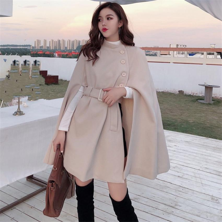 Shawl Cape Woolen Poncho Jacket Women Elegant High Quality Caramel Outerwear Ladies Solid Large Coat 2020 Fall New Korean Zhoh
