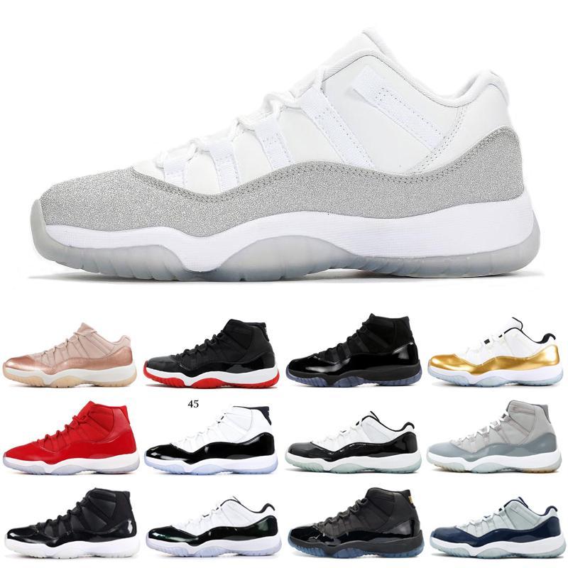 Barato 11 11s Hombres Mujeres Zapatos de baloncesto Metallic Silver Bajo Army Gum Concord Low Legend Blue 5.5-13 Mujeres para hombre Los zapatos deportivos más nuevos