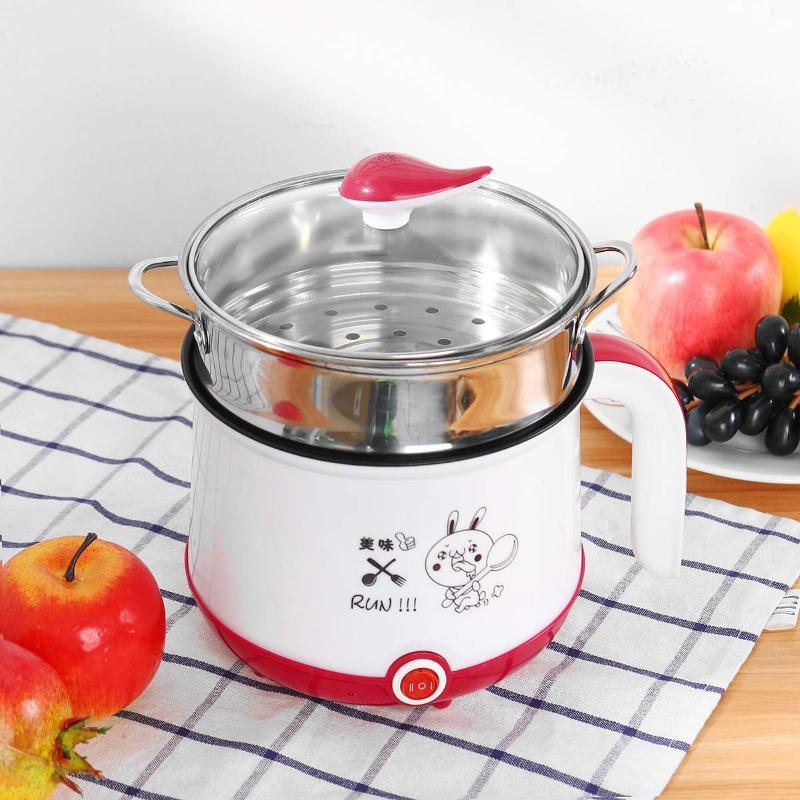 1.8L Mini Elektrischer Reiskocher 2 Schichten Multicookers 600W Dampfer Multifunktionale Mahlzeit Kochen Heißer Topfmaschine