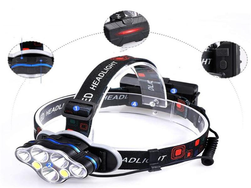 Headlamp for Adults LED 6000LM Ultra Bright 6 LED Headlight USB Rechargeable 3 Modes Flashlight Waterproof Outdoor Light