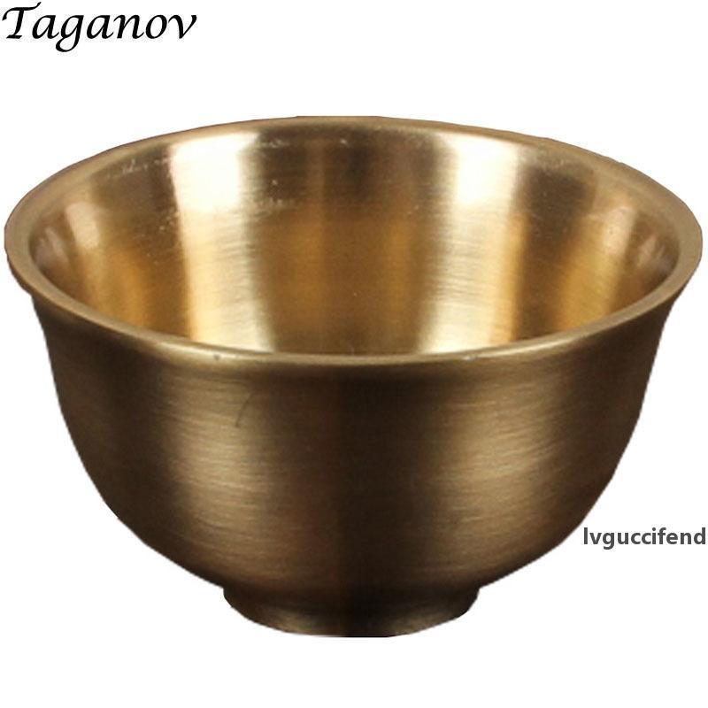 25 ml chá xícaras de chá metálico cobre pequeno chá xícara de chá vermelho chá tigela de metal de metal caneca de vinho presentes decoração home artesanato T200506