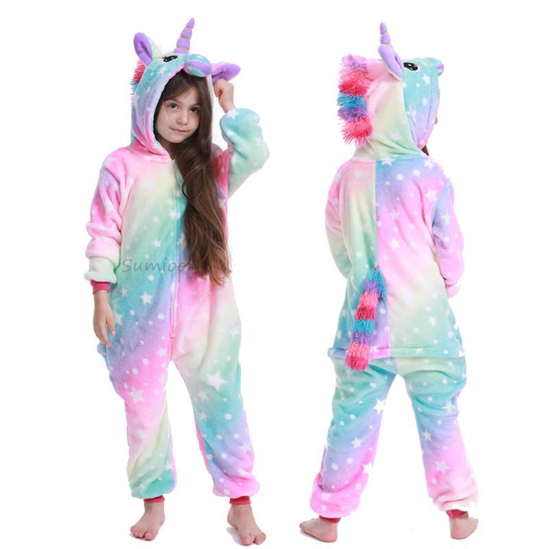 Дети Пижама Unicorn Пижамы Kids Kigurumi Пижама Cartoon Unisex Onesies Winter Pijamas Unicornio pijama Infantil C1116