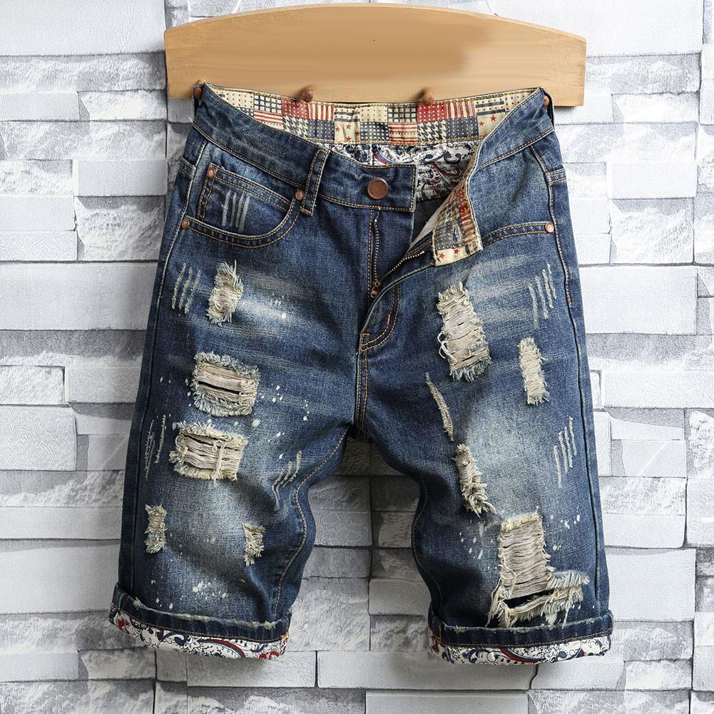Ретро летние мужчины разорванные джинсовые шорты уничтожены дыра плюс размер пятых джинсов