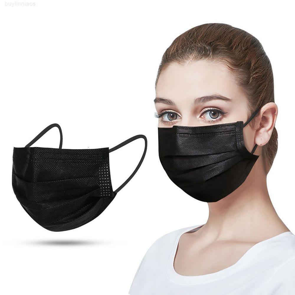 Dias USPS Dias Black Layer Máscara Descartável Face Grátis Boca Máscaras Melt Blown Pano Descartável Antidust Masks Máscara de Earloops