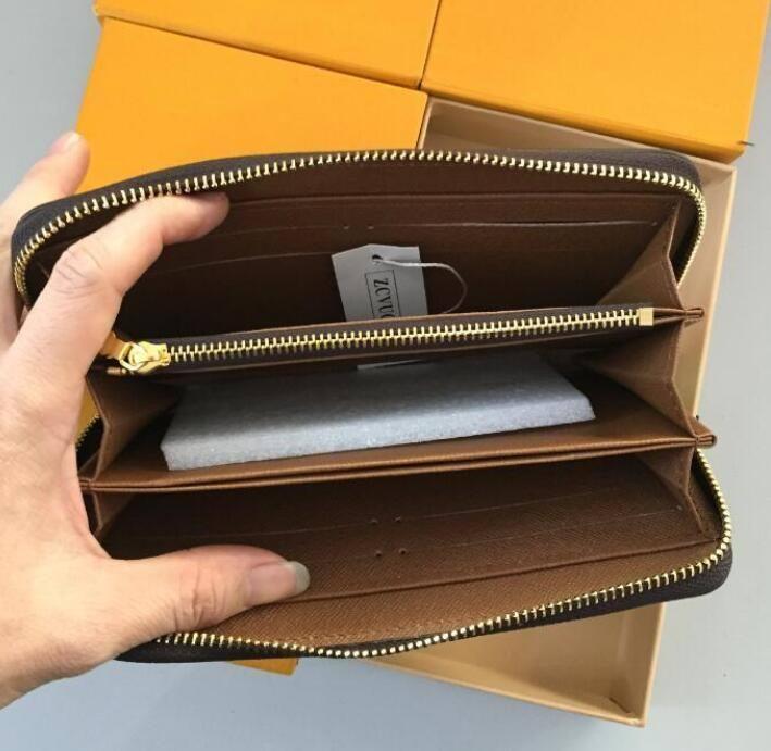 Trasporto libero caldo! Fashion Designer Frizione Portafoglio in vera pelle con scatola 60015 60017