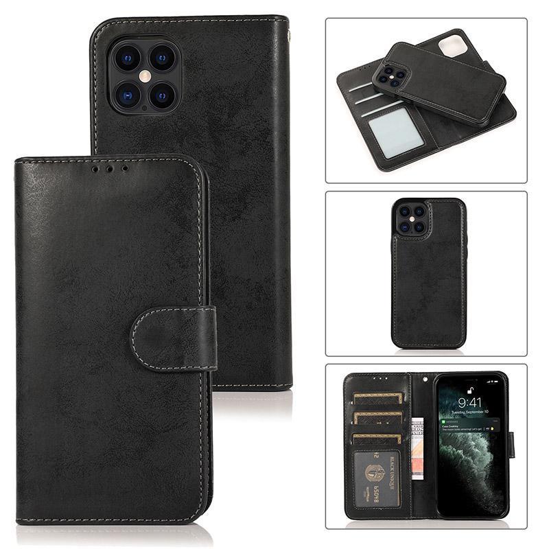 Iphone 12 11 Pro Max Wallet Funda de lujo PU de cuero magnético 2 en 1 caja de teléfono desmontable con ranuras para tarjetas para Samsung S20