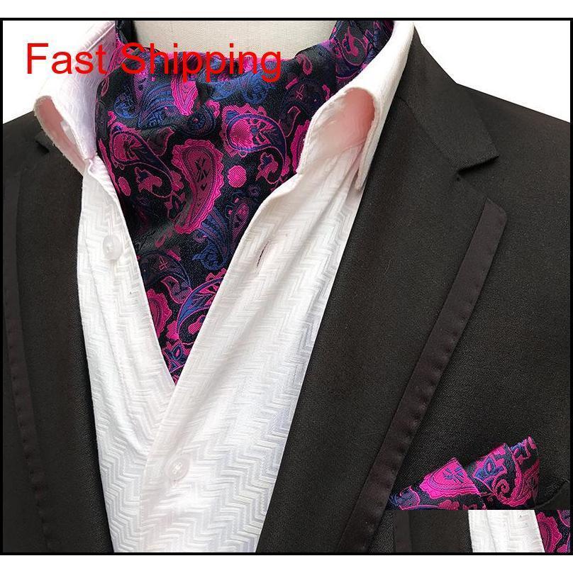 2pcs Hommes Jacquard Pocket Carré Marié Mariage Tuxedo Cravat Ascot Scrunch Banquet Cravat de Cravat Paisley Cravaillette Cravate de Cravat