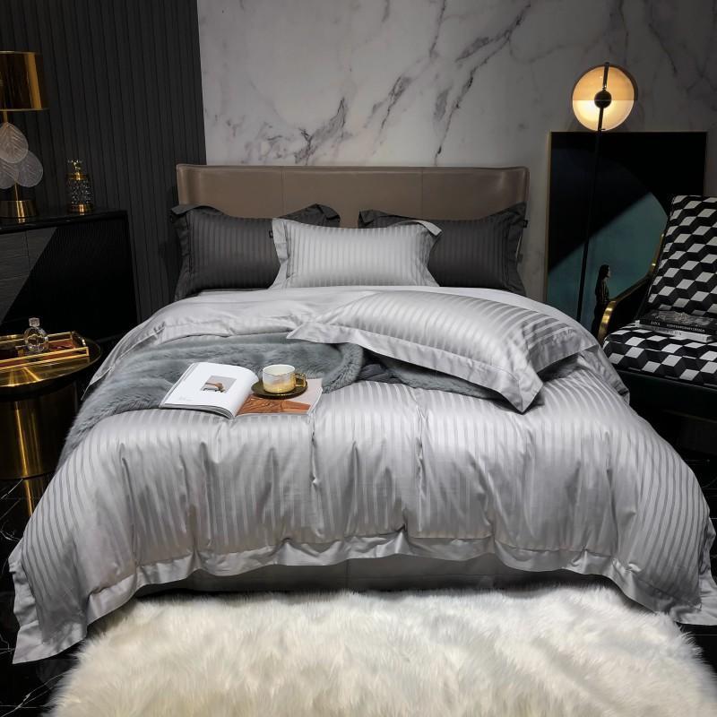 Conjunto de ropa de cama gris claro Suelte Funda de edredón sólido Conjunto de algodón Long-Staple Pillowcases Queen King Size Cama Ropa de cama 4pcs 2020 Nuevo