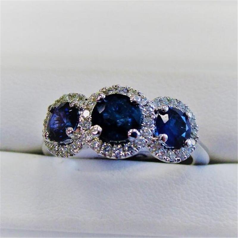 Klasik Kokteyl Takı 925 Ayar Gümüş Üç Taş Mavi Safir CZ Elmas Taşlar Parti Kadınlar Düğün Nişan Band Yüzük Hediye