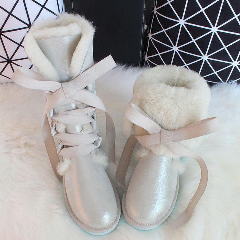 G&Zaco Luxury Sheepskin Snow Australia high Winter Natural Wool Sheep Fur Knee Bow Flat Women Long Boots LJ201130