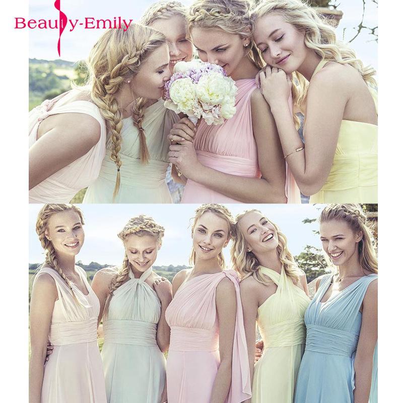 Color de caramelo elegante gasa larga a-line Vestidos de dama de honor Vestido DA DAGA DE HONRA Vestido de fiesta de boda más tamaño personalizar y200109