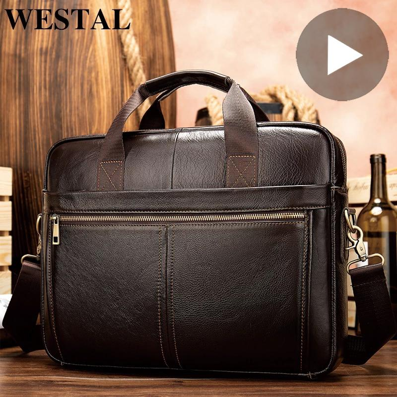 HBP Genuine Leather Briefcase for Men Bag Tote Laptop 14 Inch Shoulder Handbag Documents A4 Business Office Male Big Organizer Large Q0112