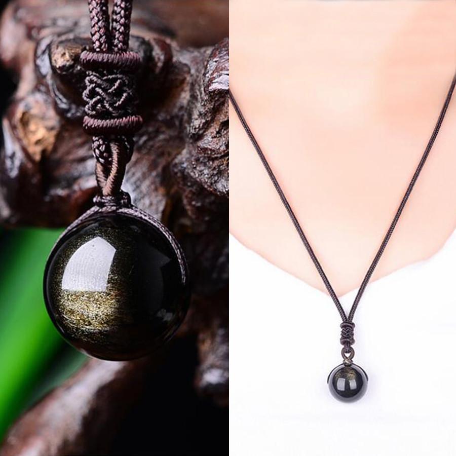 Natural Ouro Obsidian Bead Pingente Colares Para Mulher Transferir Boa sorte Beads Colar Amuleto Corrente de Corrente Handmade Jóias Presente