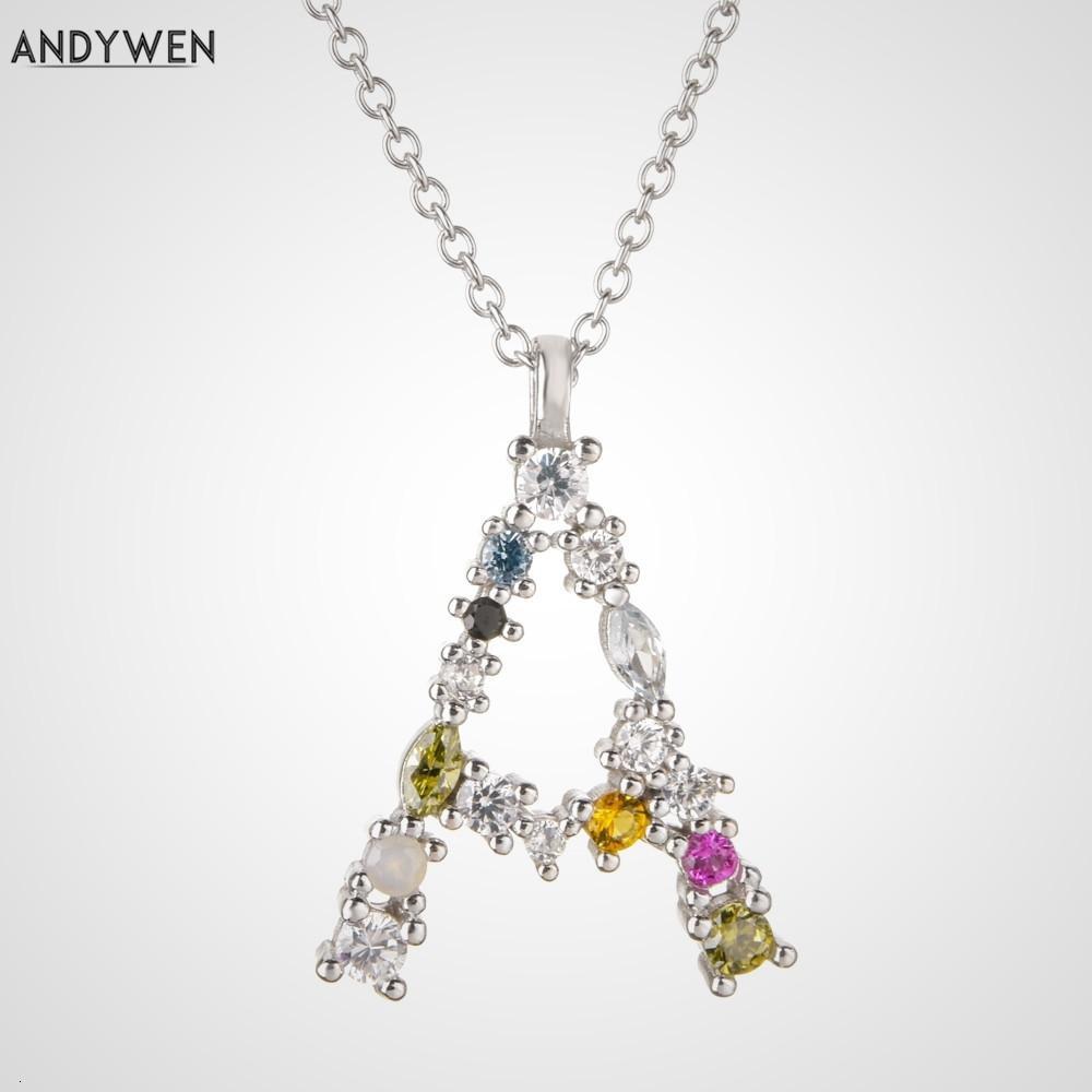 Andywen 925 Ayar Gümüş 26 Harfler Altın İlk Mektubu A B Askı Zinciri Dunne Uzun Zincirler Ayarlanabilir Mini P G EN Sierades