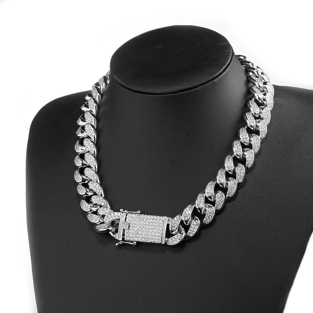 20mm 16-30Inches Iced Out Full Bling CZ Triple Lock Hip hop Cuban Link Chain Necklace for Men Women