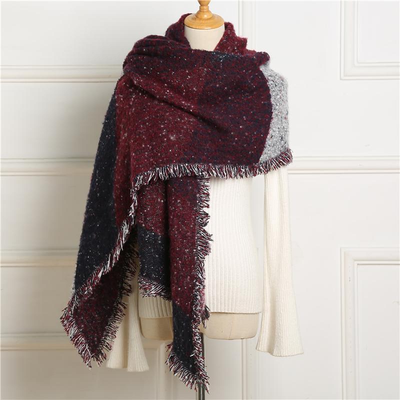 вип 2020 Дизайн Толстого кашемир шарф зима женщины Knit пашмины Ромб шаль и палантины Леди Теплых шарфы кисточка Bufanda