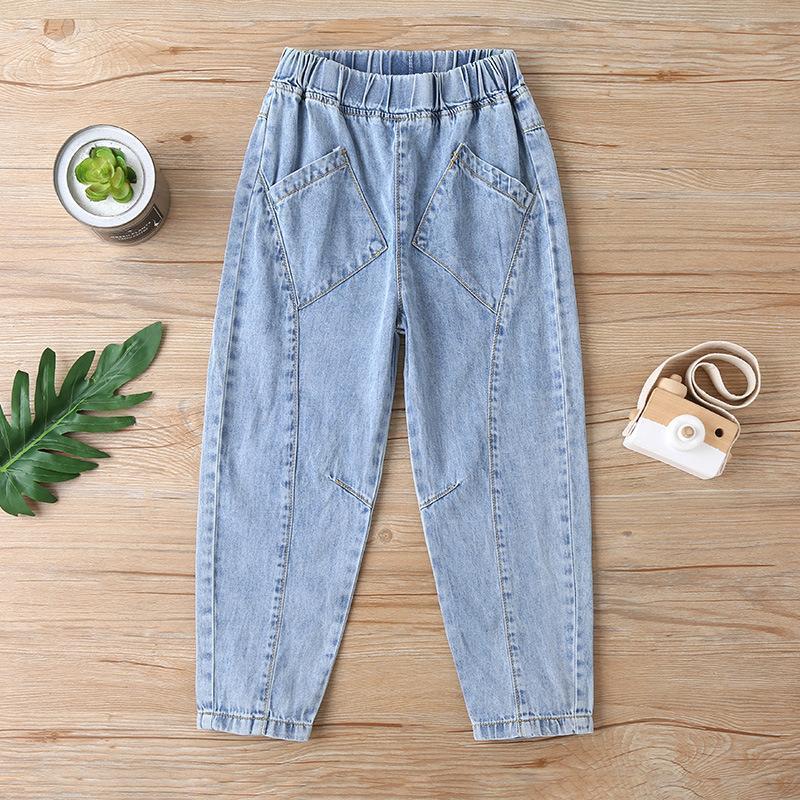 Kot Bahar Kızlar Yüksek Bel Mavi Gevşek Denim Malzeme Pantolon Pantolon Gençler için Gençler Giyim Erkek 2021