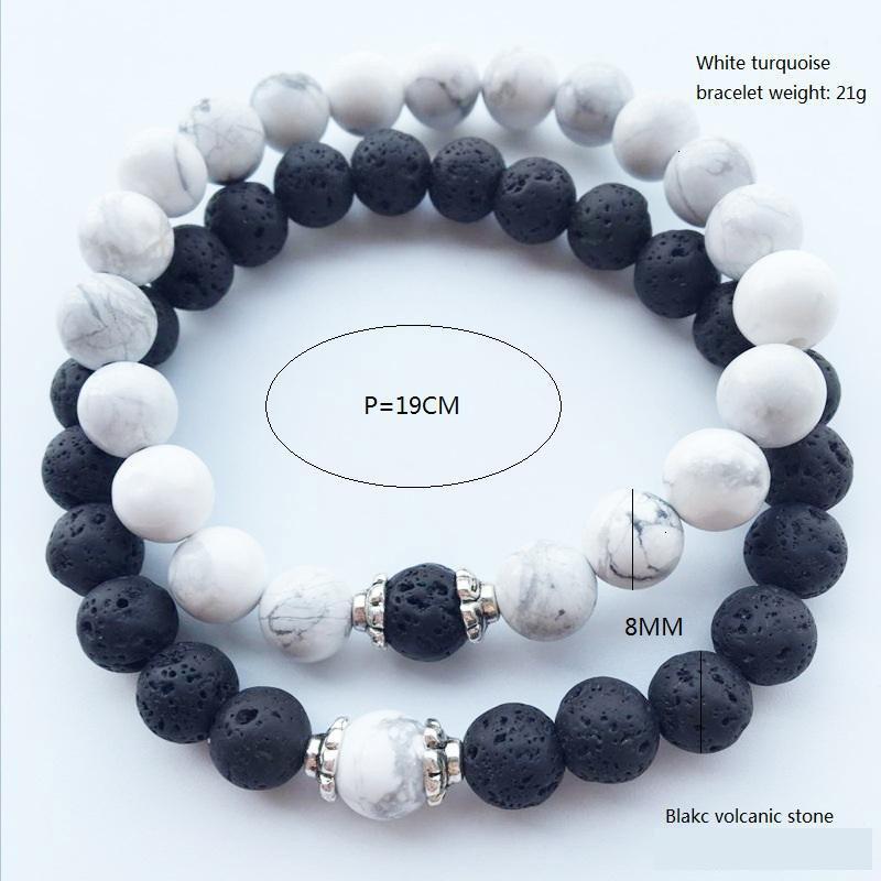 Stone Lava Hot New Natural Volcanic White Turquoise Bracelet Wholesale Handmade Beads Bracelets Jewelry N89