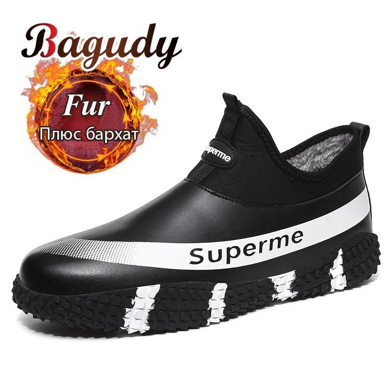 Sneakers impermeabili della caviglia della caviglia di modo caldo della peluche antiscivolo Scarpe in pelle invernale Uomini Stivali da neve 39-48 201204