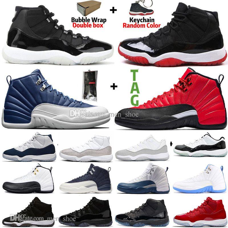 11 11s 25th Yıldönümü Bred Concord 45 Uzay Reçeli Spor Salonu Kırmızı Erkek Basketbol Ayakkabı 12 12 S Indigo Oyunu Kraliyet Ters Grip oyunu Erkek Kadın Sneaker
